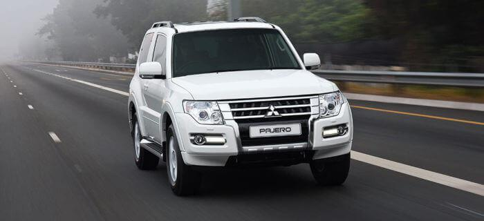 Pajero SWB front view driving on road